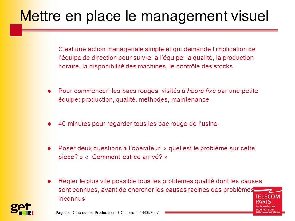 Page 34 - Club de Pro Production – CCI Loiret – 14/06/2007 Mettre en place le management visuel Cest une action managériale simple et qui demande limp