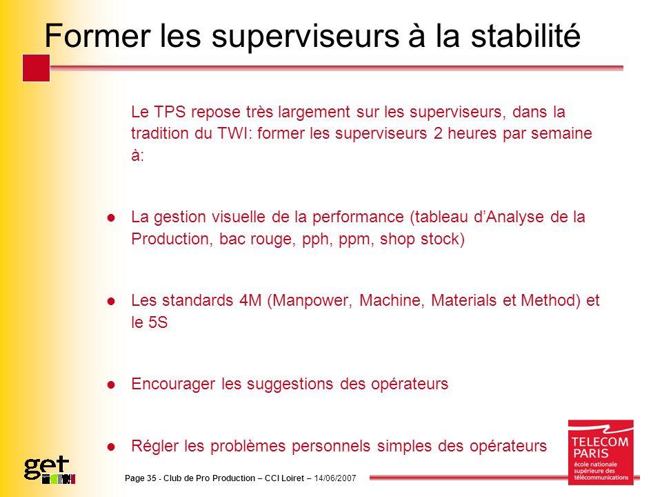 Page 35 - Club de Pro Production – CCI Loiret – 14/06/2007 Former les superviseurs à la stabilité Le TPS repose très largement sur les superviseurs, d