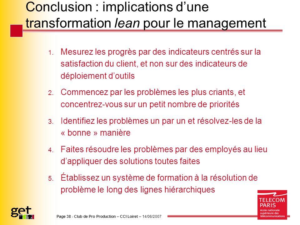 Conclusion : implications dune transformation lean pour le management 1. Mesurez les progrès par des indicateurs centrés sur la satisfaction du client