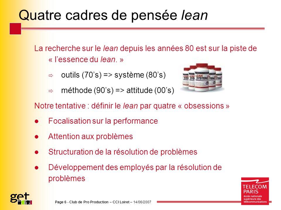 Quatre cadres de pensée lean La recherche sur le lean depuis les années 80 est sur la piste de « lessence du lean. » outils (70s) => système (80s) mét