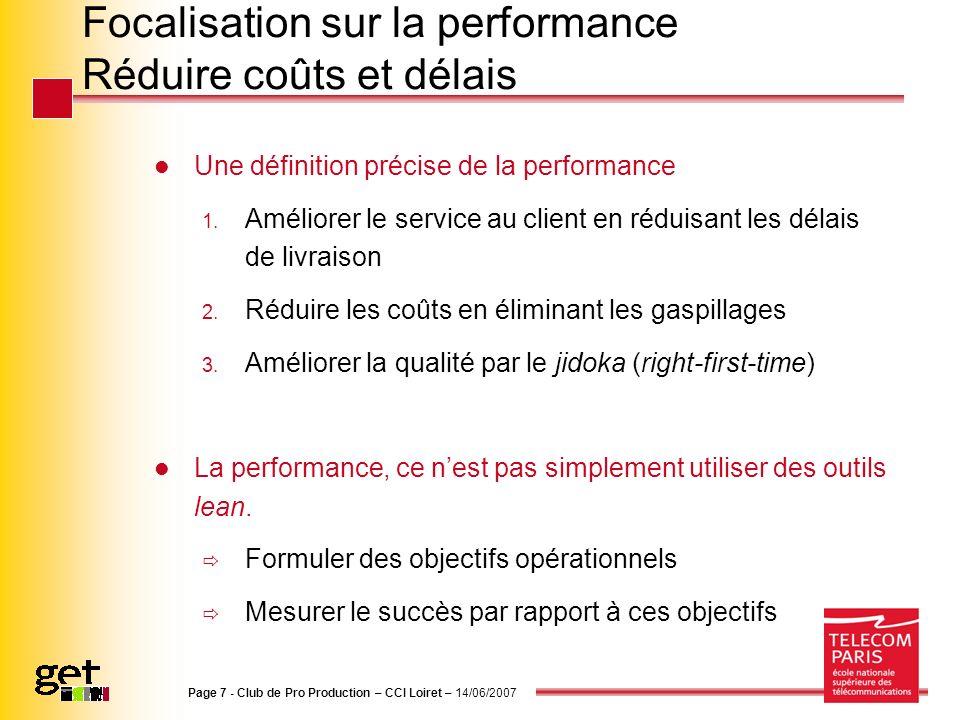 Focalisation sur la performance Réduire coûts et délais Une définition précise de la performance 1. Améliorer le service au client en réduisant les dé