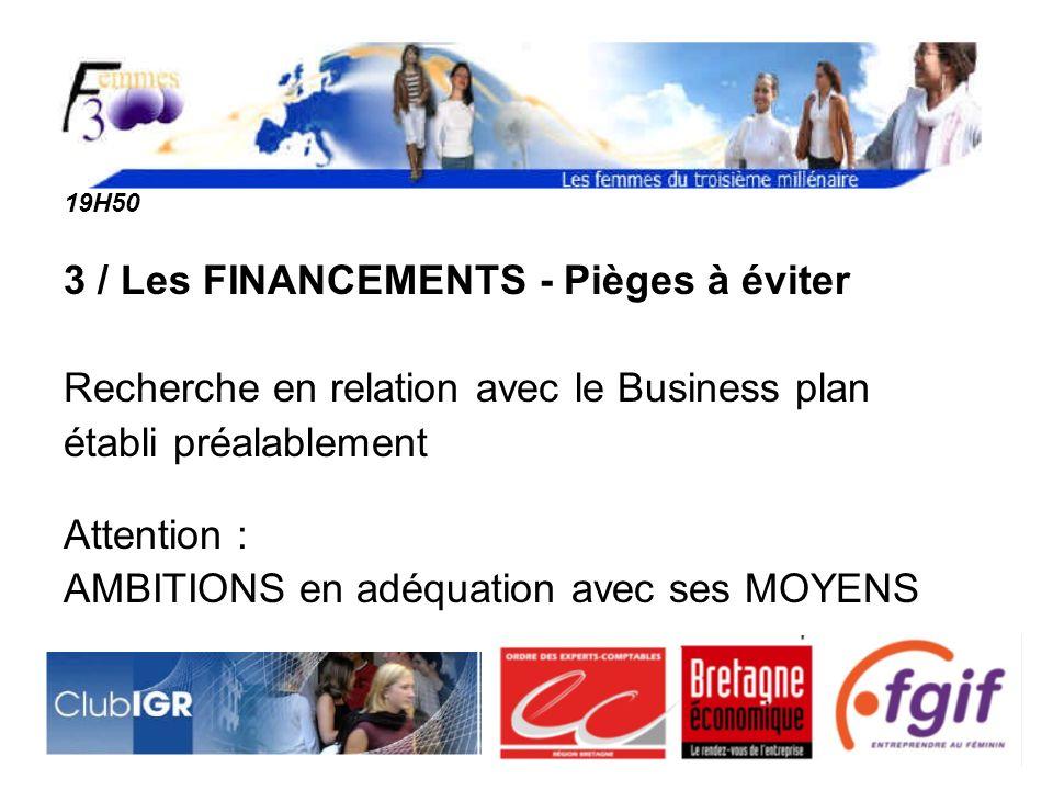 19H50 3 / Les FINANCEMENTS - Pièges à éviter Recherche en relation avec le Business plan établi préalablement Attention : AMBITIONS en adéquation avec ses MOYENS