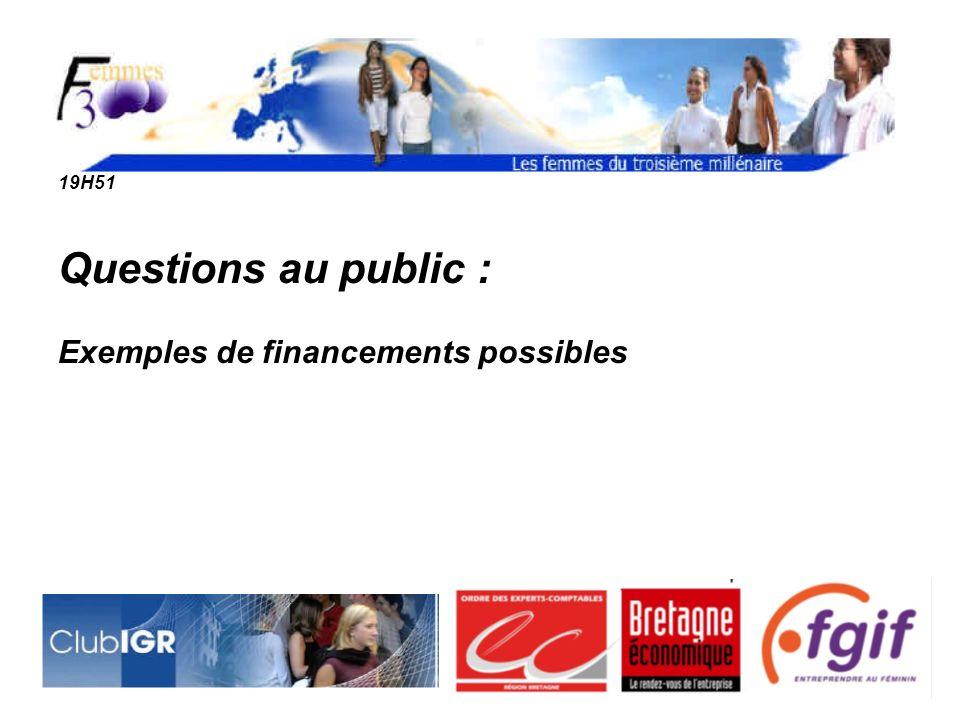 19H51 Questions au public : Exemples de financements possibles
