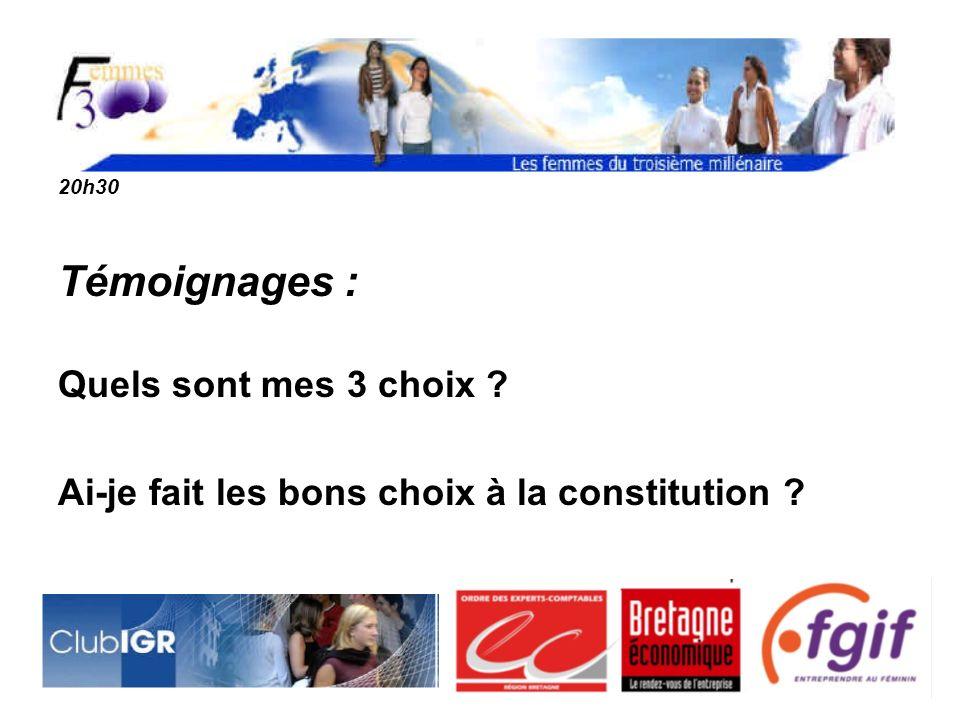 20h30 Témoignages : Quels sont mes 3 choix ? Ai-je fait les bons choix à la constitution ?