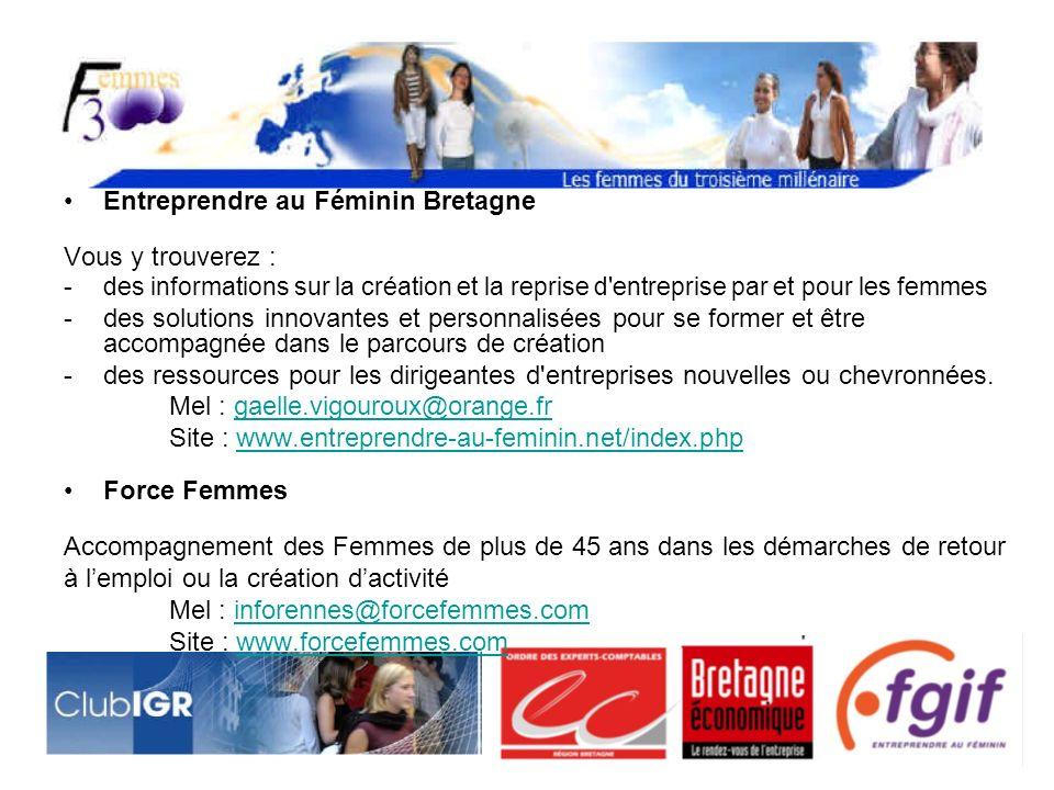 Entreprendre au Féminin Bretagne Vous y trouverez : -des informations sur la création et la reprise d entreprise par et pour les femmes -des solutions innovantes et personnalisées pour se former et être accompagnéedans le parcours de création -des ressources pour les dirigeantes d entreprises nouvelles ou chevronnées.