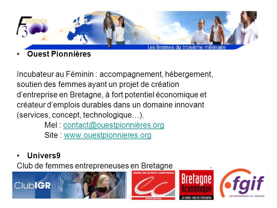 Ouest Pionnières Incubateur au Féminin : accompagnement, hébergement, soutien des femmes ayant un projet de création dentreprise en Bretagne, à fort potentiel économique et créateur demplois durables dans un domaine innovant (services, concept, technologique…).
