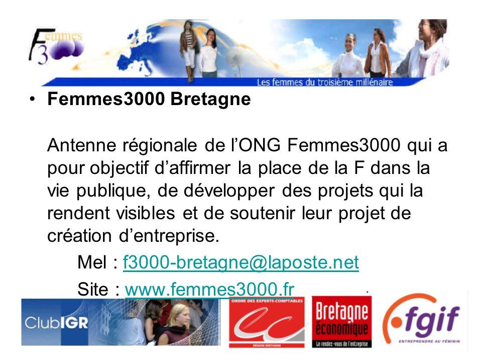 Femmes3000 Bretagne Antenne régionale de lONG Femmes3000 qui a pour objectif daffirmer la place de la F dans la vie publique, de développer des projets qui la rendent visibles et de soutenir leur projet de création dentreprise.