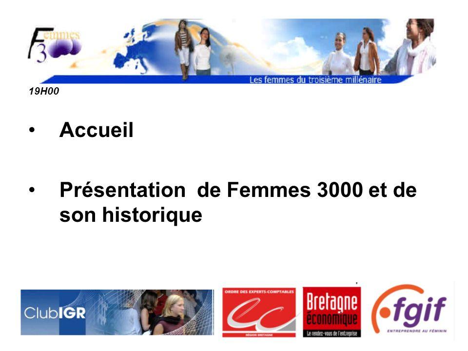 19H00 Accueil Présentation de Femmes 3000 et de son historique