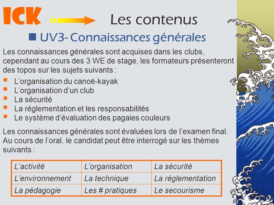 ICK Les contenus UV3- Connaissances générales Lorganisation du canoë-kayak Lorganisation dun club La sécurité La réglementation et les responsabilités