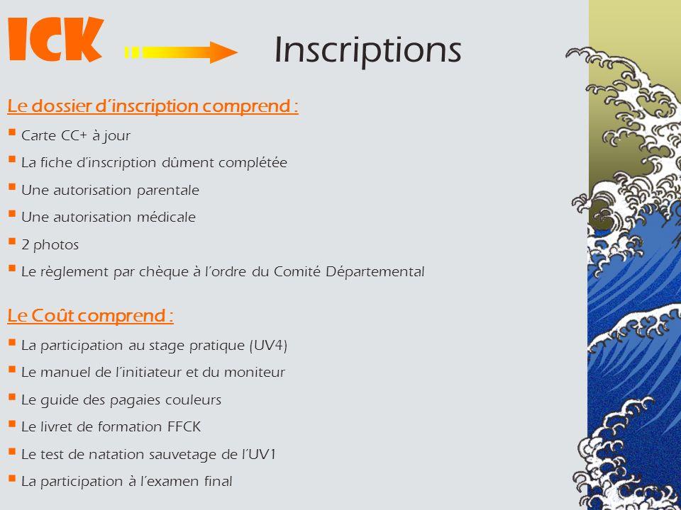 Le dossier dinscription comprend : Carte CC+ à jour La fiche dinscription dûment complétée Une autorisation parentale Une autorisation médicale 2 phot