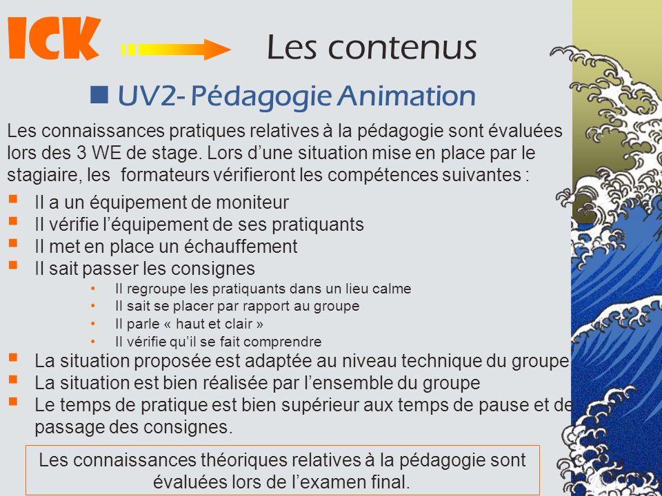ICK Les contenus UV2- Pédagogie Animation Il a un équipement de moniteur Il vérifie léquipement de ses pratiquants Il met en place un échauffement Il