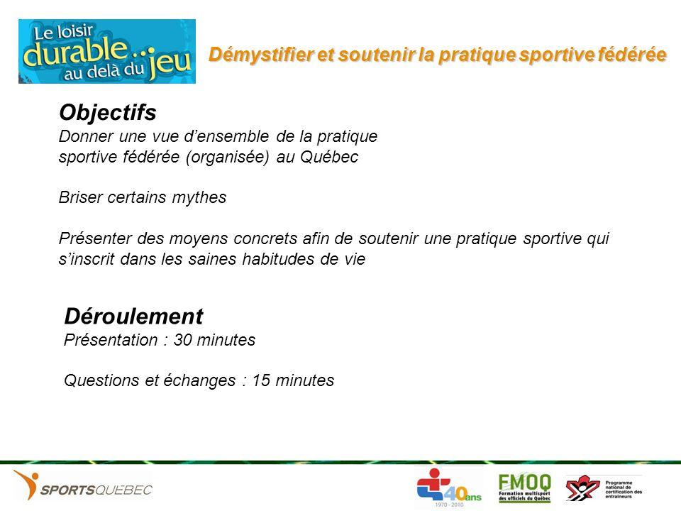 Démystifier et soutenir la pratique sportive fédérée Objectifs Donner une vue densemble de la pratique sportive fédérée (organisée) au Québec Briser c