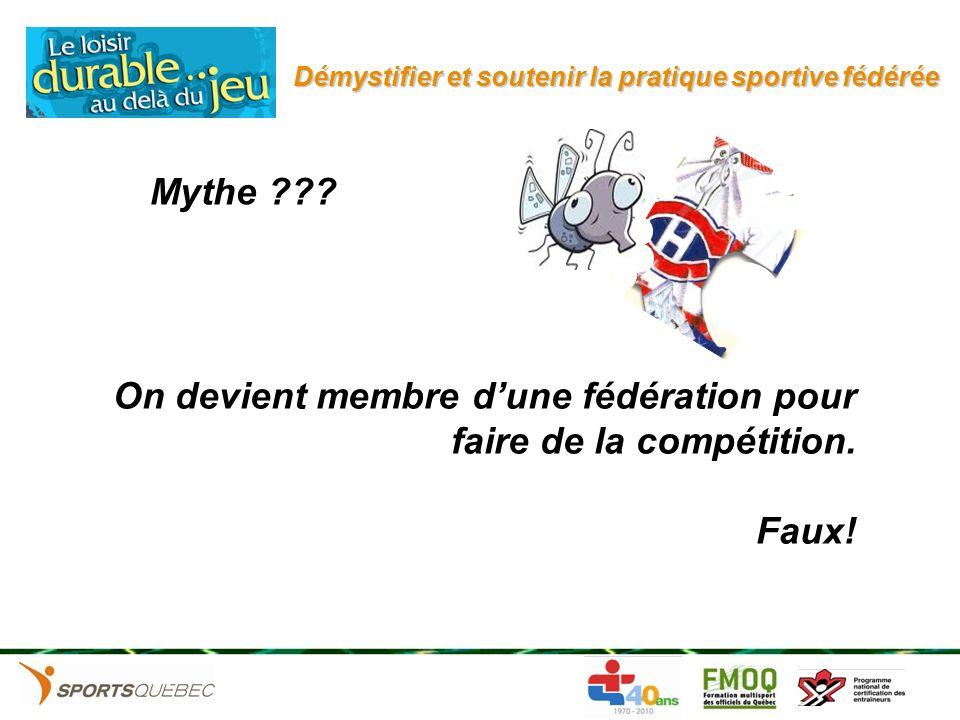 On devient membre dune fédération pour faire de la compétition. Faux! Mythe ???
