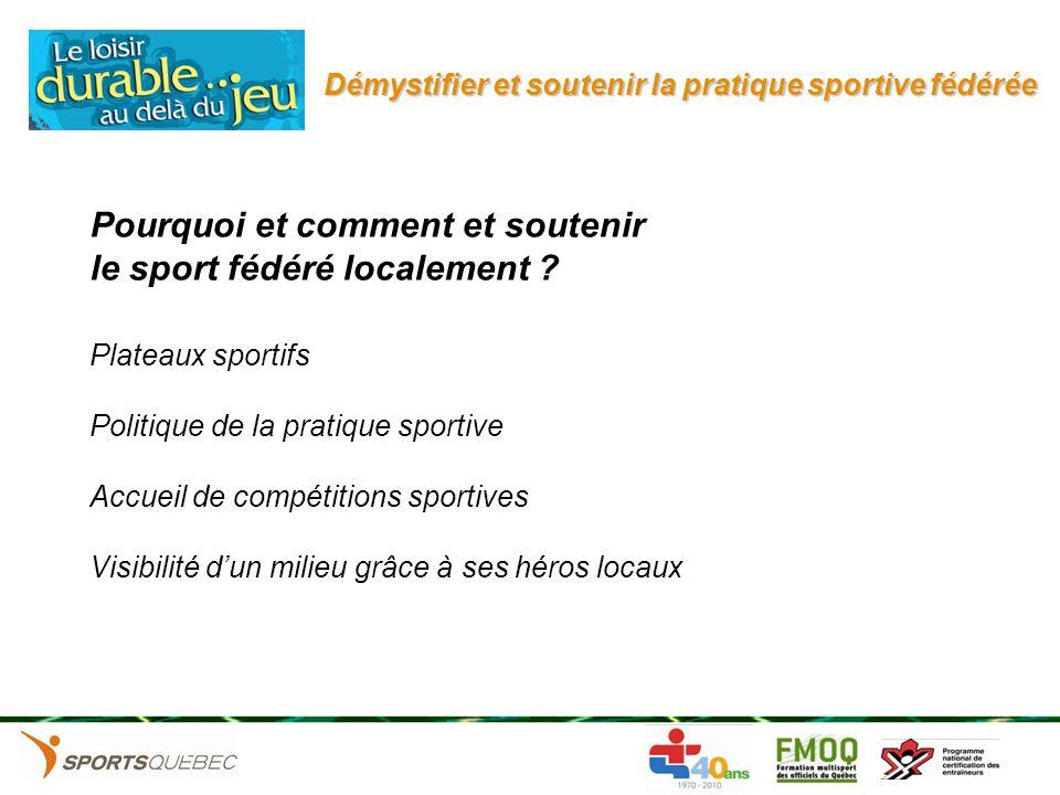 Démystifier et soutenir la pratique sportive fédérée Pourquoi et comment et soutenir le sport fédéré localement ? Plateaux sportifs Politique de la pr