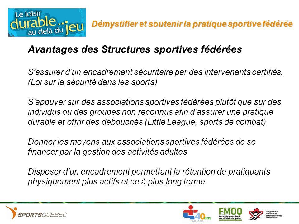 Démystifier et soutenir la pratique sportive fédérée Avantages des Structures sportives fédérées Sassurer dun encadrement sécuritaire par des interven