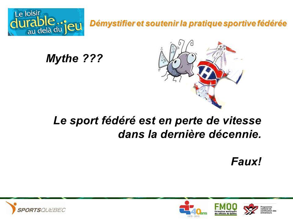 Démystifier et soutenir la pratique sportive fédérée Le sport fédéré est en perte de vitesse dans la dernière décennie. Faux! Mythe ???