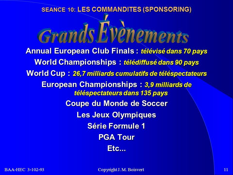 BAA-HEC 3-102-93 Copyright J. M. Boisvert11 SEANCE 10: LES COMMANDITES (SPONSORING) Annual European Club Finals : télévisé dans 70 pays World Champion
