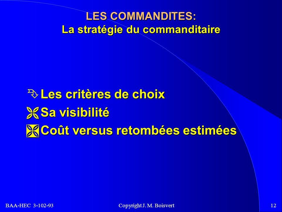 BAA-HEC 3-102-93 Copyright J. M. Boisvert12 LES COMMANDITES: La stratégie du commanditaire Les critères de choix Sa visibilité Sa visibilité Coût vers