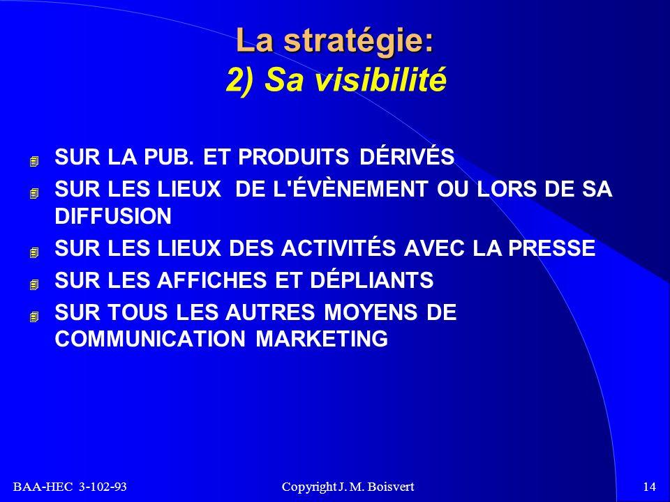 BAA-HEC 3-102-93 Copyright J. M. Boisvert14 La stratégie: La stratégie: 2) Sa visibilité 4 SUR LA PUB. ET PRODUITS DÉRIVÉS 4 SUR LES LIEUX DE L'ÉVÈNEM