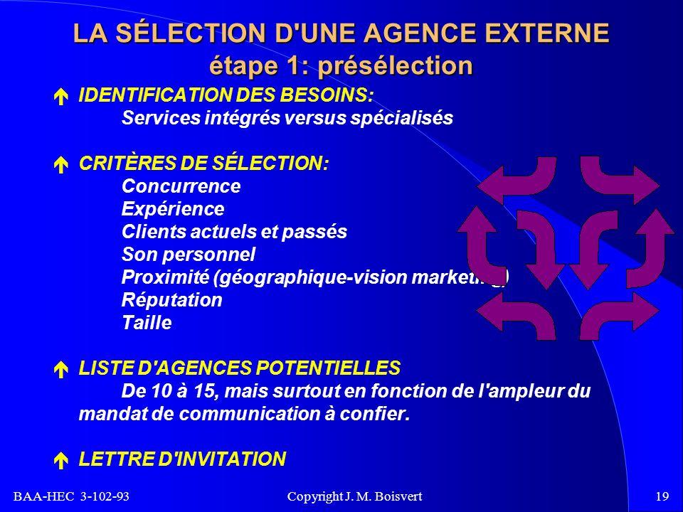 BAA-HEC 3-102-93 Copyright J. M. Boisvert19 LA SÉLECTION D'UNE AGENCE EXTERNE étape 1: présélection IDENTIFICATION DES BESOINS: Services intégrés vers