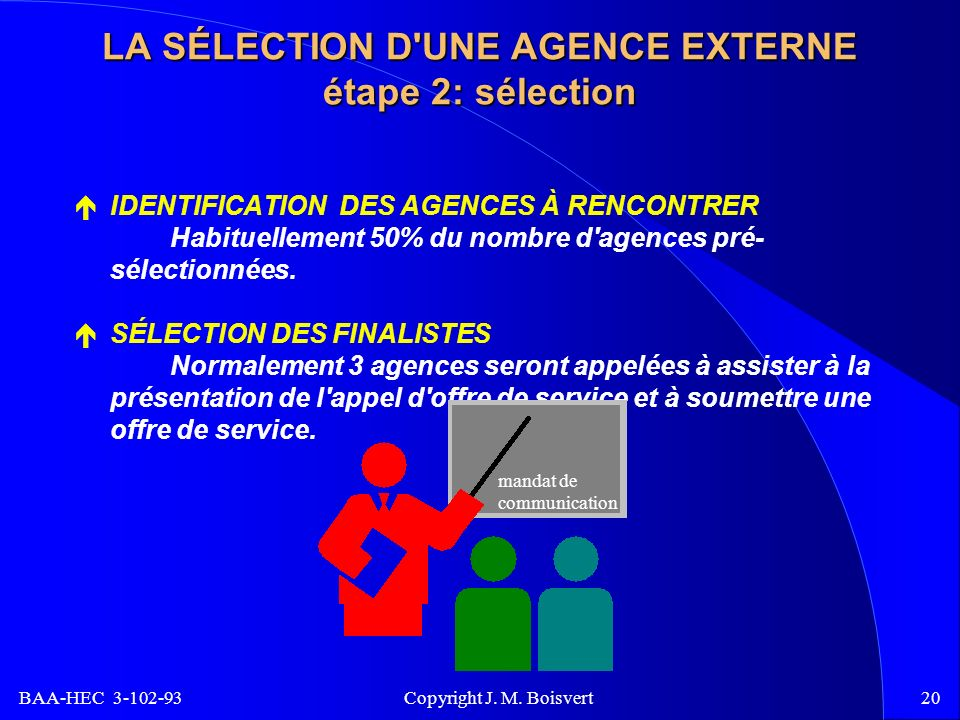 BAA-HEC 3-102-93 Copyright J. M. Boisvert20 LA SÉLECTION D'UNE AGENCE EXTERNE étape 2: sélection IDENTIFICATION DES AGENCES À RENCONTRER Habituellemen