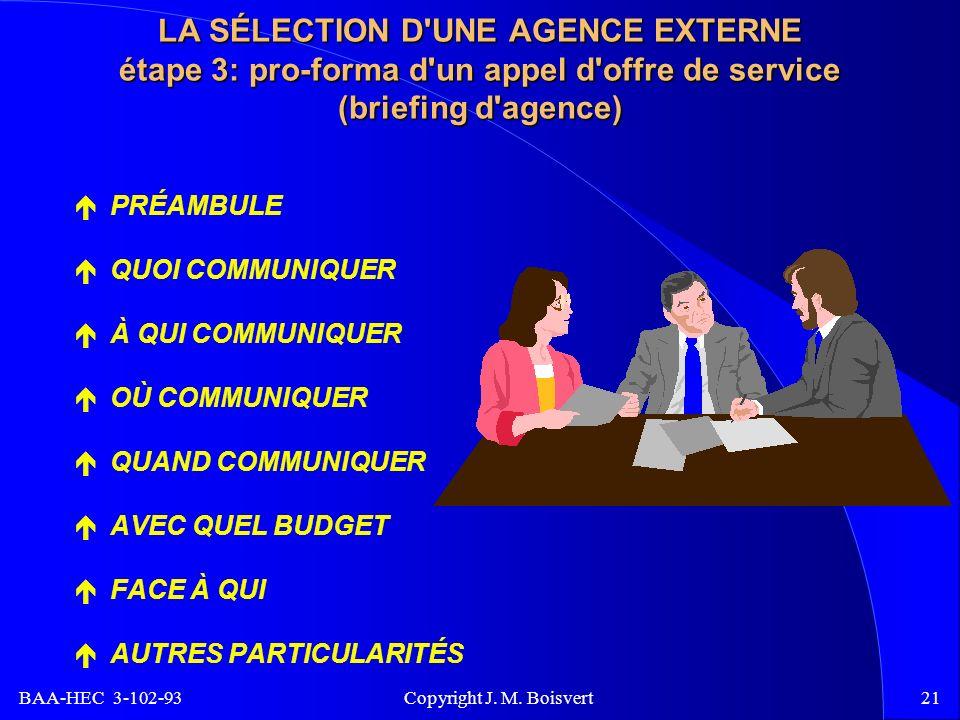BAA-HEC 3-102-93 Copyright J. M. Boisvert21 LA SÉLECTION D'UNE AGENCE EXTERNE étape 3: pro-forma d'un appel d'offre de service (briefing d'agence) PRÉ