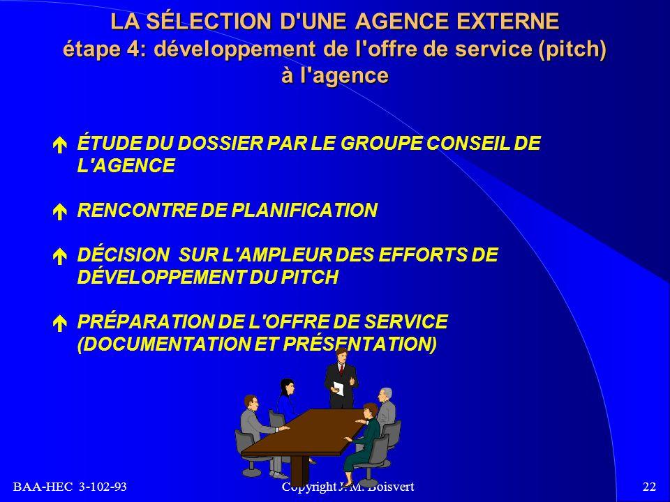 BAA-HEC 3-102-93 Copyright J. M. Boisvert22 LA SÉLECTION D'UNE AGENCE EXTERNE étape 4: développement de l'offre de service (pitch) à l'agence ÉTUDE DU