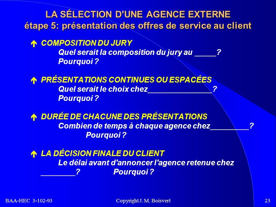 BAA-HEC 3-102-93 Copyright J. M. Boisvert23 LA SÉLECTION D'UNE AGENCE EXTERNE étape 5: présentation des offres de service au client COMPOSITION DU JUR