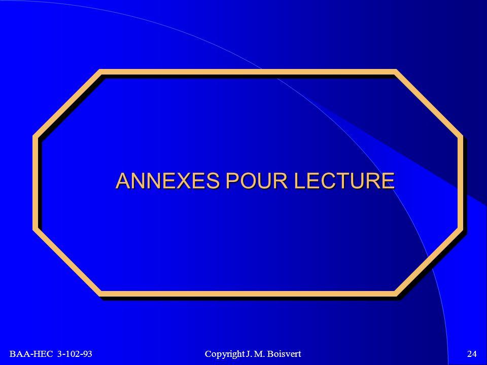 BAA-HEC 3-102-93 Copyright J. M. Boisvert24 ANNEXES POUR LECTURE