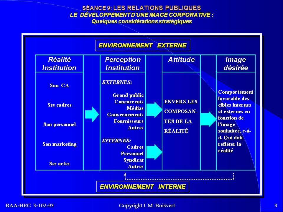 BAA-HEC 3-102-93 Copyright J. M. Boisvert3 SÉANCE 9: LES RELATIONS PUBLIQUES SÉANCE 9: LES RELATIONS PUBLIQUES LE DÉVELOPPEMENT D'UNE IMAGE CORPORATIV