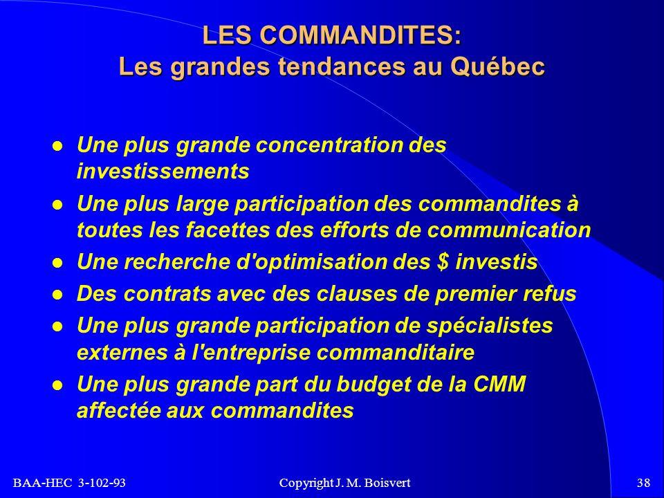 BAA-HEC 3-102-93 Copyright J. M. Boisvert38 LES COMMANDITES: Les grandes tendances au Québec Une plus grande concentration des investissements Une plu