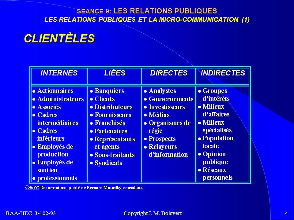 BAA-HEC 3-102-93 Copyright J. M. Boisvert4 SÉANCE 9: LES RELATIONS PUBLIQUES SÉANCE 9: LES RELATIONS PUBLIQUES LES RELATIONS PUBLIQUES ET LA MICRO-COM