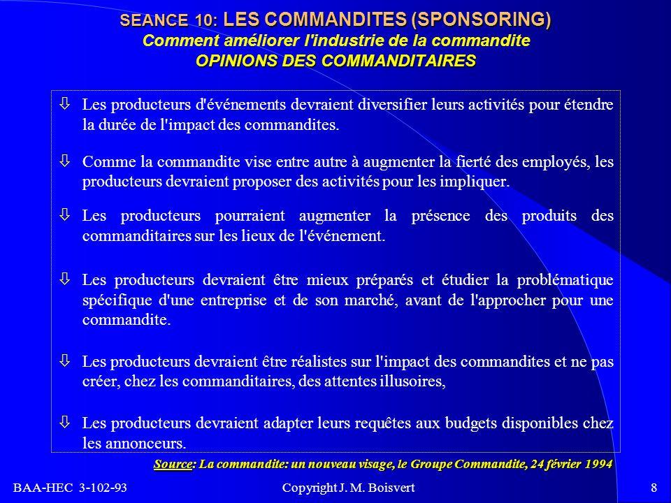 BAA-HEC 3-102-93 Copyright J. M. Boisvert8 SEANCE 10: LES COMMANDITES (SPONSORING) OPINIONS DES COMMANDITAIRES SEANCE 10: LES COMMANDITES (SPONSORING)