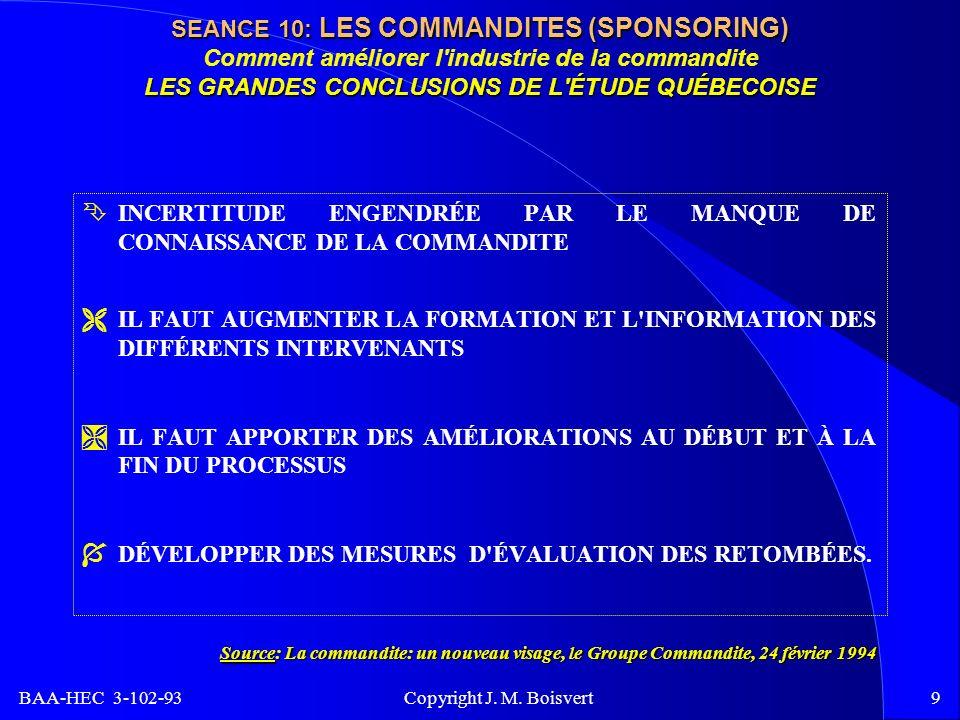 BAA-HEC 3-102-93 Copyright J. M. Boisvert9 SEANCE 10: LES COMMANDITES (SPONSORING) LES GRANDES CONCLUSIONS DE L'ÉTUDE QUÉBECOISE SEANCE 10: LES COMMAN