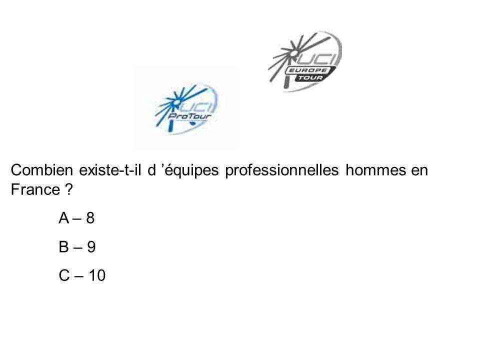 Combien existe-t-il d équipes professionnelles hommes en France ? A – 8 B – 9 C – 10