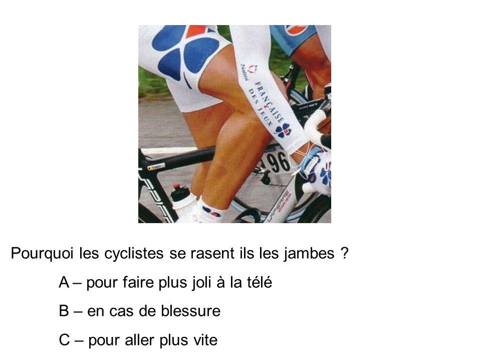 Pourquoi les cyclistes se rasent ils les jambes .