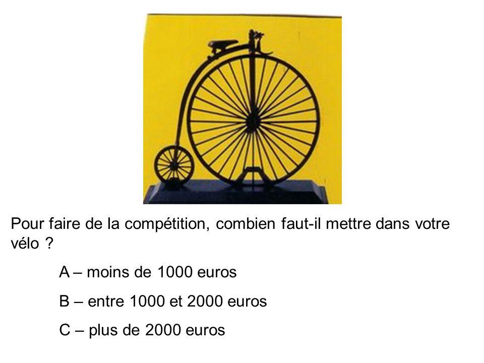 Pour faire de la compétition, combien faut-il mettre dans votre vélo .
