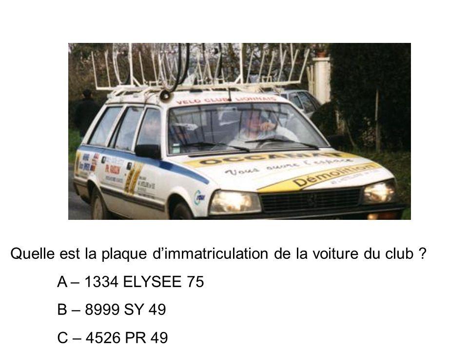 Quelle est la plaque dimmatriculation de la voiture du club .