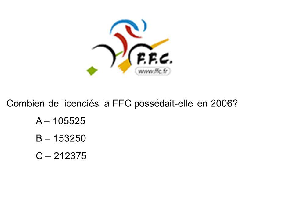 Combien de licenciés la FFC possédait-elle en 2006? A – 105525 B – 153250 C – 212375