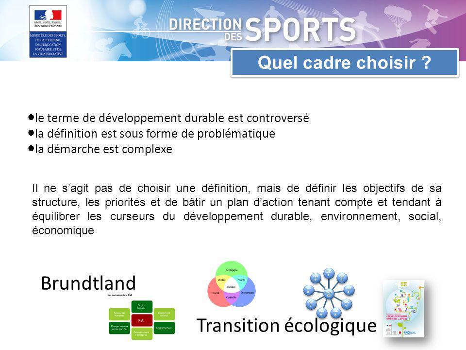 le terme de développement durable est controversé la définition est sous forme de problématique la démarche est complexe Brundtland Transition écologique SND DS Défi 1 Défi 2 Défi 3 Défi 4 Défi 5 Défi 6 Défi 7 Défi 8 Défi 9 Quel cadre choisir .