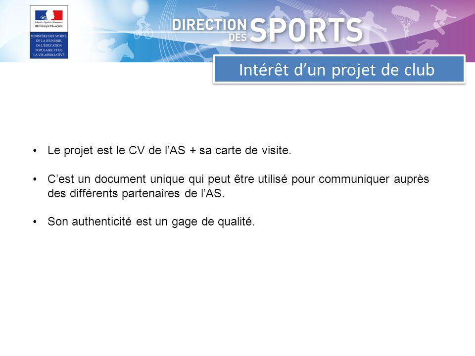 Intérêt dun projet de club Le projet est le CV de lAS + sa carte de visite.