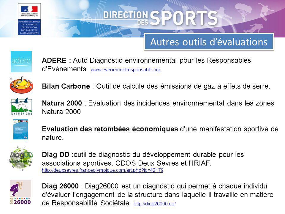 Autres outils dévaluations ADERE : Auto Diagnostic environnemental pour les Responsables dEvénements.
