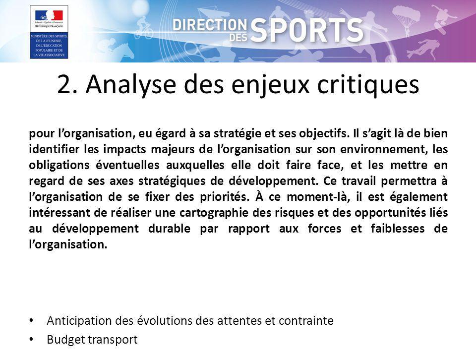2.Analyse des enjeux critiques pour lorganisation, eu égard à sa stratégie et ses objectifs.