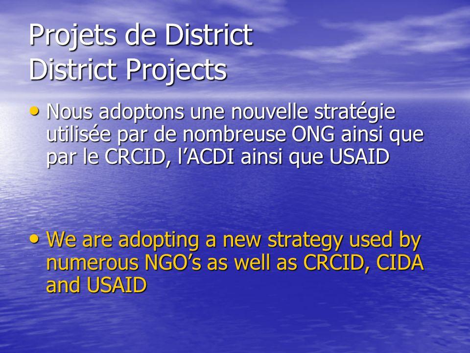 Projets de District District Projects Nous adoptons une nouvelle stratégie utilisée par de nombreuse ONG ainsi que par le CRCID, lACDI ainsi que USAID Nous adoptons une nouvelle stratégie utilisée par de nombreuse ONG ainsi que par le CRCID, lACDI ainsi que USAID We are adopting a new strategy used by numerous NGOs as well as CRCID, CIDA and USAID We are adopting a new strategy used by numerous NGOs as well as CRCID, CIDA and USAID