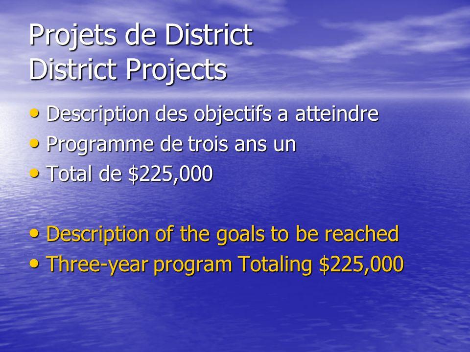 Projets de District District Projects Description des objectifs a atteindre Description des objectifs a atteindre Programme de trois ans un Programme de trois ans un Total de $225,000 Total de $225,000 Description of the goals to be reached Description of the goals to be reached Three-year program Totaling $225,000 Three-year program Totaling $225,000