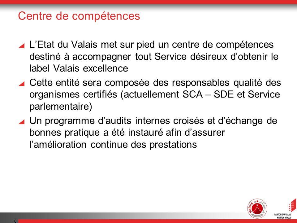 6 Centre de compétences LEtat du Valais met sur pied un centre de compétences destiné à accompagner tout Service désireux dobtenir le label Valais exc