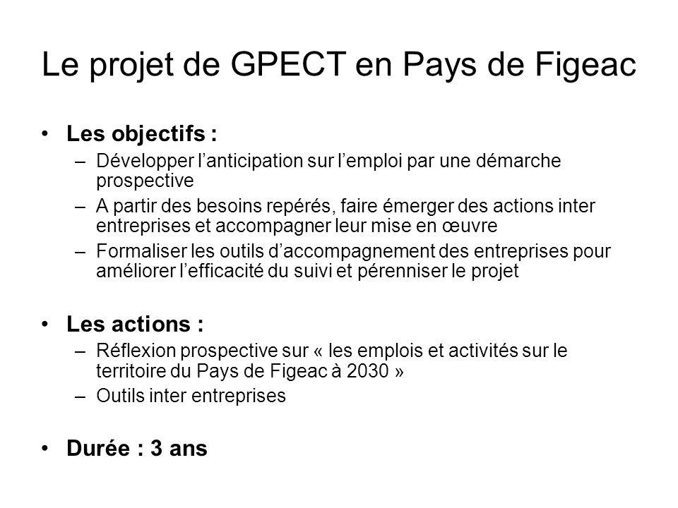 Le projet de GPECT en Pays de Figeac Les objectifs : –Développer lanticipation sur lemploi par une démarche prospective –A partir des besoins repérés,