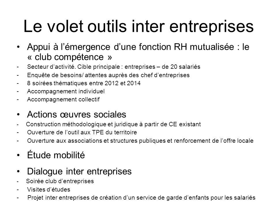Le volet outils inter entreprises Appui à lémergence dune fonction RH mutualisée : le « club compétence » -Secteur dactivité. Cible principale : entre