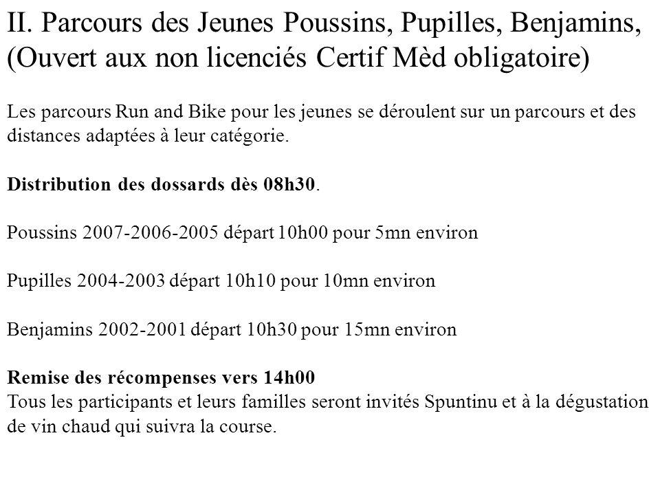 II. Parcours des Jeunes Poussins, Pupilles, Benjamins, (Ouvert aux non licenciés Certif Mèd obligatoire) Les parcours Run and Bike pour les jeunes se