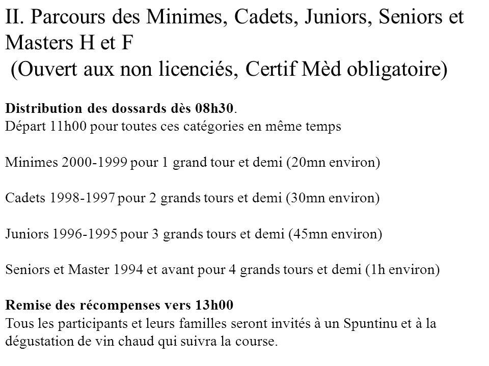 II. Parcours des Minimes, Cadets, Juniors, Seniors et Masters H et F (Ouvert aux non licenciés, Certif Mèd obligatoire) Distribution des dossards dès